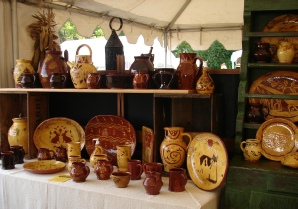 redware pottery at a show